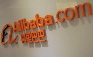Le logo du groupe chinois Alibaba, au siège du groupe à Hong Kong, en 2012