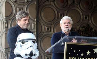 Mark Hamill et George Lucas en 2018.