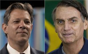 Les deux finalistes de la présidentielle brésilienne : le candidat du PT Fernando Haddad (gauche) et le candidat d'extrême droite Jair Bolsonaro (droite).