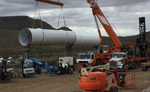 Le terrain sur lequel Hyperloop One prépare son premier test, près de Las Vegas, dans le Nevada.