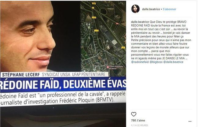 Capture d'écran du message (supprimé) posté par Béatrice Dalle sur son compte Instagram le 1er juillet 2018 en soutien à Rédoine Faïd.