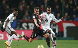 Déjà buteur à l'aller contre Nice, le Norvégien Anders Konradsen (ici face à Reims) a récidivé sans le faire exprès en faveur du Stade Rennais.
