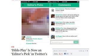 Le site américain Gawker a remarqué qu'une vidéo X s'était brièvement retrouvée… dans la section «choix des éditeurs» de l'application de miniclips Vine.
