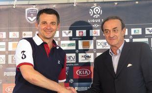 Le Haillan, le 10 juin 2014 - Willy Sagnol, nouvel entraÓneur de Bordeaux, prÈsentÈ par Jean-Louis Triaud