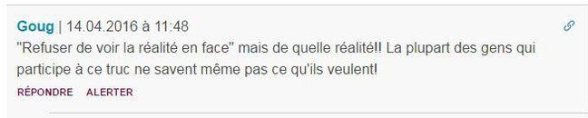 Sous l'article «15 jours de #NuitDebout: A quoi rêvent les «nuitdeboutistes»?