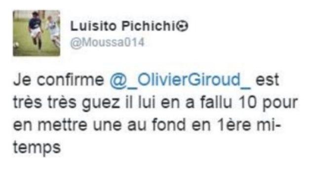 Le tweet d'un joueur du Paris FC pas trop fan de Giroud.
