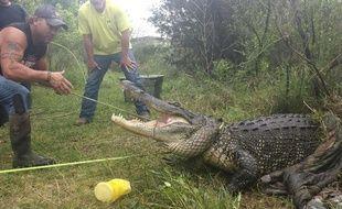 Photo de Jana Saurage montrant Gary Saurage devant un alligator à Groves, Texas, le 6 avril 2015.