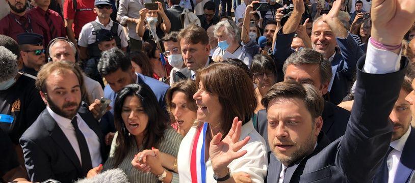 Michèle Rubirola accompagnée de Benoit Payan, de Sophie Camard, et de Samia Ghali.