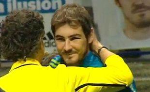Capture d'écran d'Iker Casillas lors d'un match de charité, le 28 décembre 2012 à Madrid.