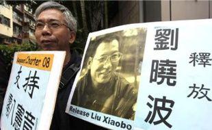 A Hongkong, le 28 décembre, un manifestant réclame la libération de Liu Xiaobo.