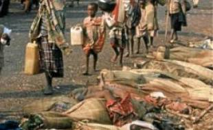 Réfugiés rwandais à Goma, Zaïre.