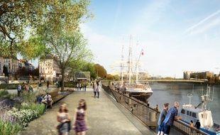 Le quai de la Fosse tel qu'il pourrait être transformé (dessin d'intention).