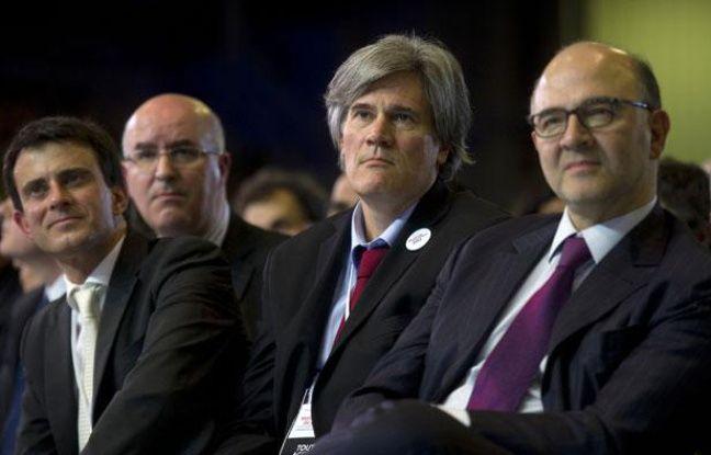 Manuel Valls, Stéphane Le Foll et Pierre Moscovici, lors du meeting du Bourget, le 22 janvier 2012 à Paris.