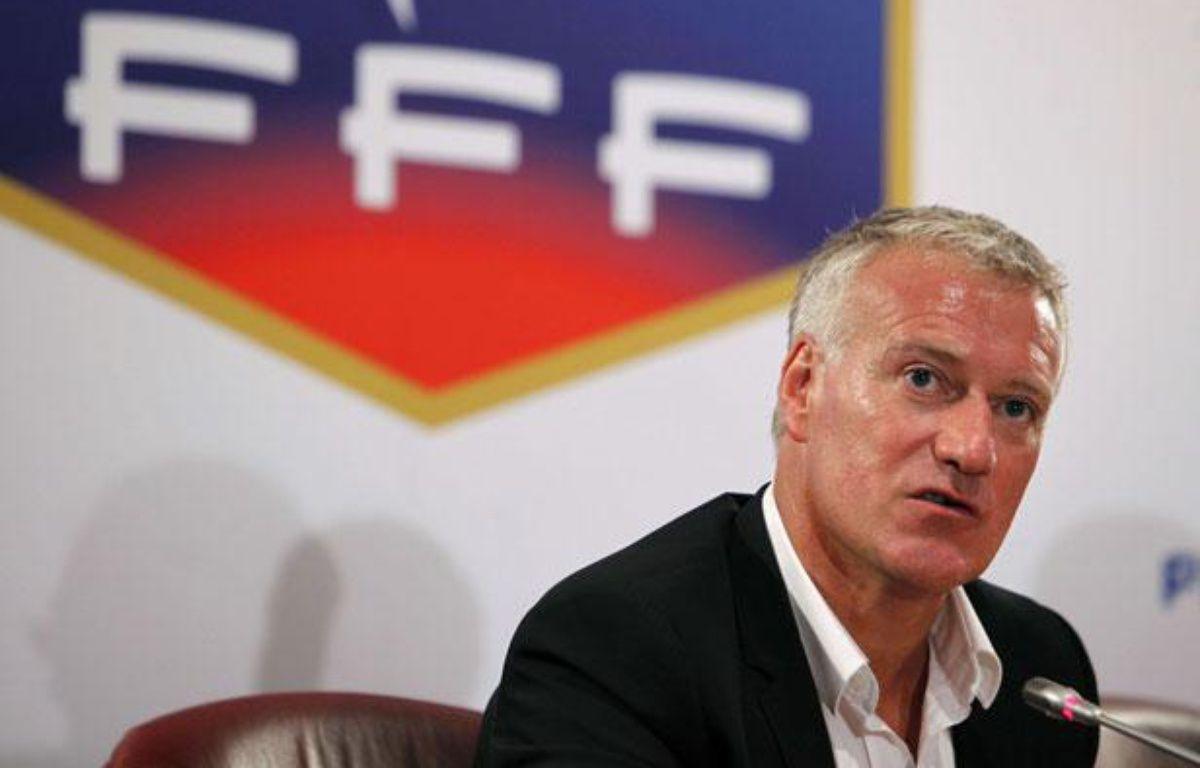 Didier Deschamps lors de son intronisation comme sélectionneur, le 9 juillet 2012 à Paris. – T.Camus/SIPA