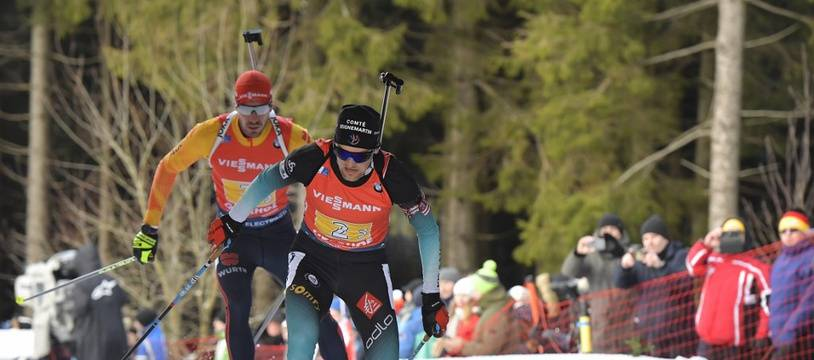 Simon Desthieux mène le relais français à Oberhof, le 11 janvier 2020.