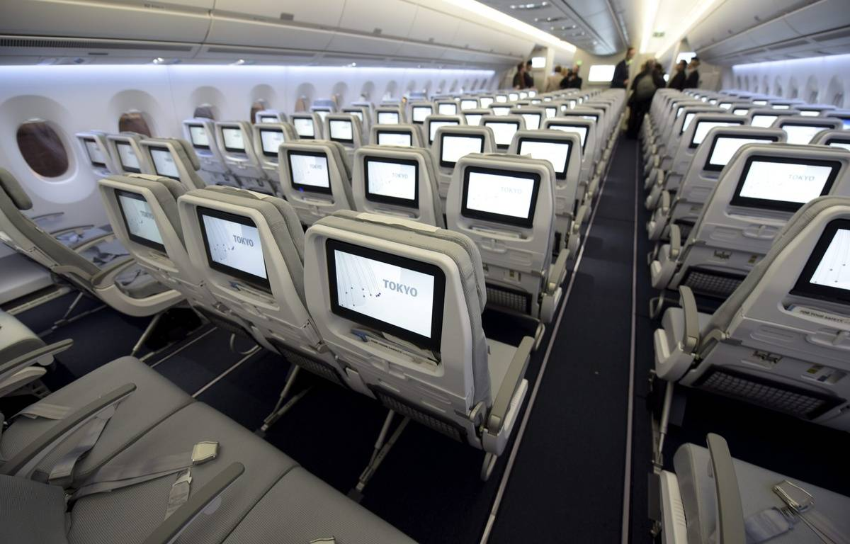 Illustration de la cabine d'un avion. – A.LEHTIKUV/SIPA /AP