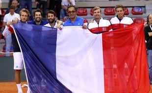 L'équipe de France de Coupe Davis a battu la Grande-Bretagne en quarts de finale à Rouen, du 7 au 9 avril 2017.