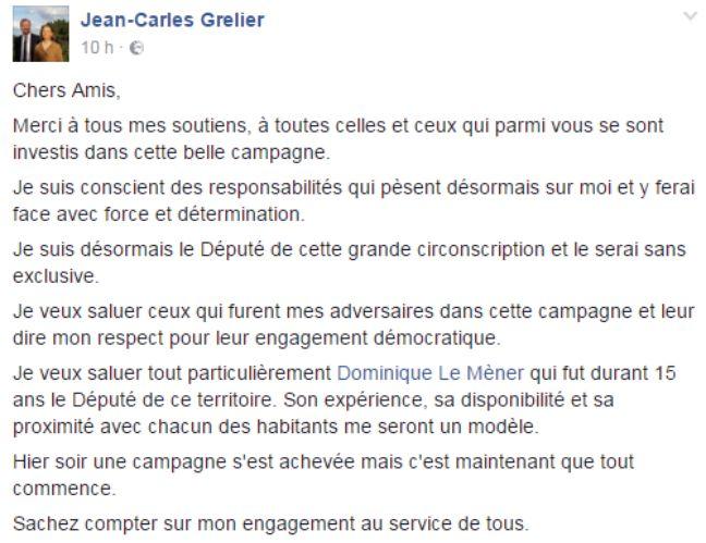 Le message de Jean-Carles Grelier après sa victoire.