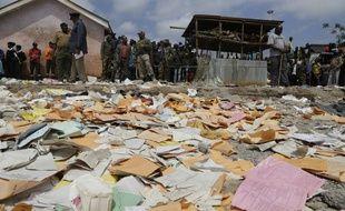 Les décombres de l'école de Nairobi, où plusieurs salles de classe se sont effondrées le 23 septembre 2019, causant la mort de sept élèves kényans.