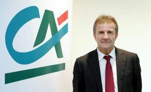 Philippe Brassac, directeur général de Crédit Agricole SA, au siège de la banque à Montrouge le 4 août 2015