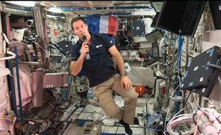 L'astrinaute Thomas Pesquet lors d'une liaison en direct de l'Espace.