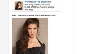 Capture d'écran du site de Toptal, qui s'est plaint de voir ses publicités supprimées de LinkedIn car des utilisateurs se sont plaints de photos «provocantes».