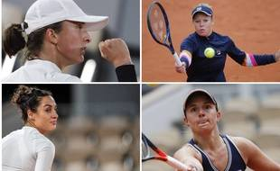 De gauche à droite et de haut en bas: Iga Swiatek, Laura Siegemund, Martina Trevisan et Nadia Podoroska.