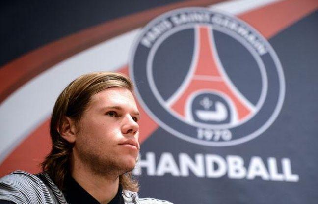 Mikkel Hansen lors de la présentation du Paris Handball, le 11 septembre 2012 au Parc des Princes.