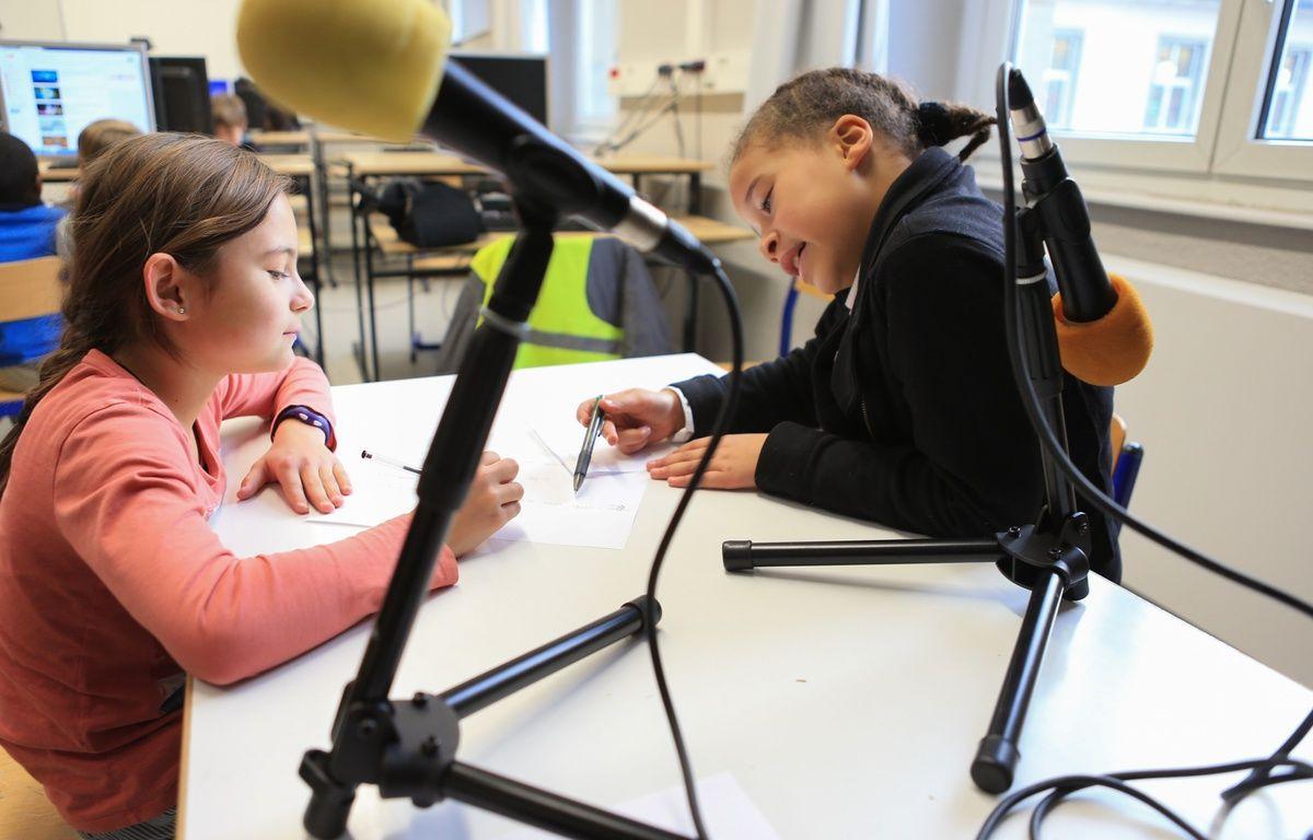 Atelier éducatif périscolaire. Initiation à la radiophonie à l'école du Neufeld à Neudorf. Strasbourg le 20 janvier 2017. – G. Varela / 20 Minutes