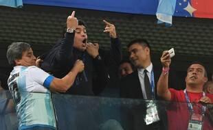 Diego Maradona après la victoire argentine face au Nigéria, lors de la Coupe du monde 2018.