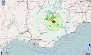 Carte du séisme.
