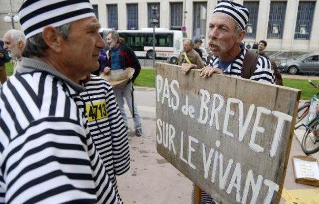 Un agriculteur habillé en prisonnier manifeste contre le brevetage du vivant à Lyon le vendredi 4 avril 2014
