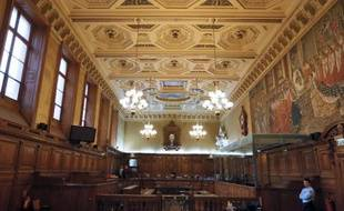 Vue générale d'une salle d'audience au Palais de Justice de Paris