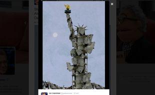 Capture d'écran de la photo postée sur Twitter signée Tammam Azzam, un artiste syrien.