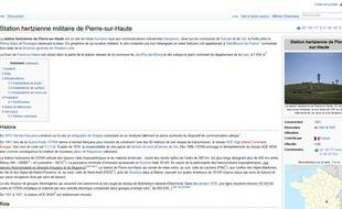 La page Wikipedia de la station hertzienne militaire de Pierre-sur-Haute. Capture d'écran le 6 avril 2013.