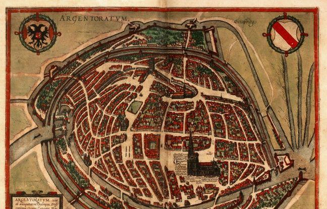 La carte d'Argentorate, en 1572, par Georg Braun.
