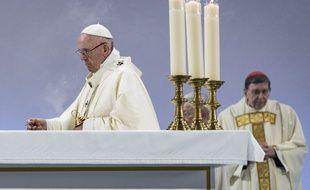 Le pape François célébrait une messe en Suisse, le 21 juin 2018.