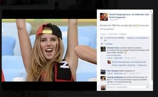 Capture d'écran de la page fan dédiée à Axelle Despiegelaere sur Facebook.