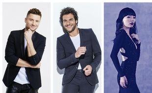 Sergeï Lazarev (Russie), Amir (France) et Dami Im (Australie), candidats à l'Eurovision 2016.