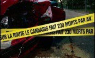 """Une première campagne contre le cannabis au volant a été lancée mercredi par la Sécurité routière et la Mission interministérielle de lutte contre la drogue et la toxicomanie (Mildt) sur le thème: """"cannabis et conduite = danger""""."""