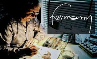 Hermann à sa table à dessin
