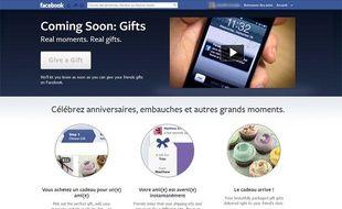 Facebook Gifts, la boutique en ligne du réseau social, qui permet d'envoyer de vrais cadeaux à ses contacts.