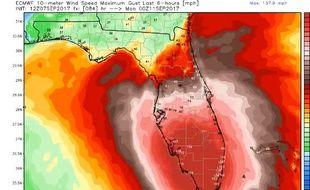 Selon les dernières projections de jeudi soir, Irma pourrait frapper la Floride de plein fouet.