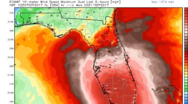 Selon les dernières projections de jeudi soir, Irma pourrait frapper la Floride de plein fouet. – ECMWF