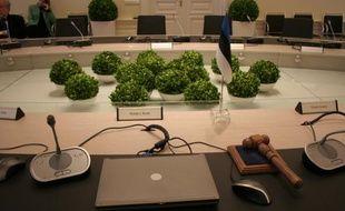 Salle du Conseil des ministres, vue depuis le siège de Andrus Ansip, premier ministre estonien.