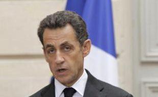 Nicolas Sarkozy, lors de son discours sur le déficit public au Palais de l'Elysée à Paris, le 28 janvier 2010.