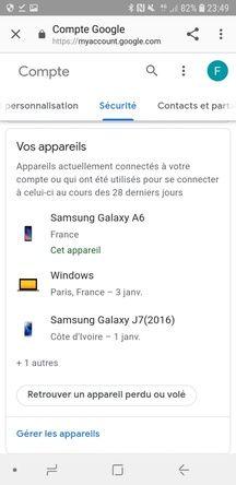 Une capture d'écran d'un message de sécurité envoyé par Gmail.