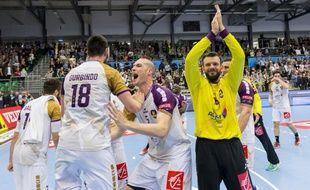 La joie des Nantais après le nul à Skjern en quart de finale.