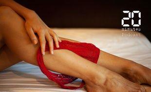 Illustration d'une personne sur un lit avec une culotte rouge sur les mollets