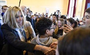 Brigitte Macron au lycée Carnot, à Dijon, le 5 mars 2018 pour parler de lutte contre le harcèlement scolaire.